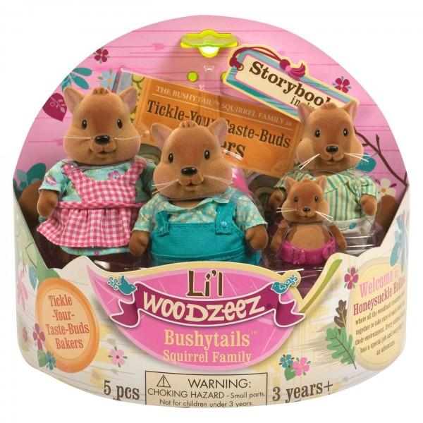 Li'l Woodzeez The Bushytail Squirrel Family with Storybook