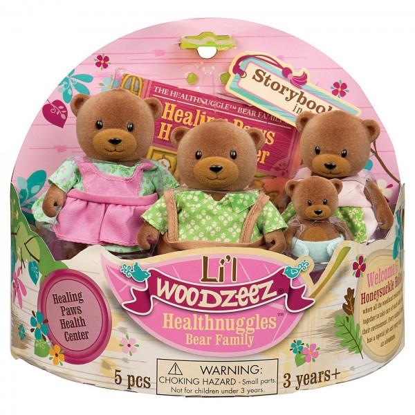 Li'L Woodzeez The Healthnuggle Bear Family with Storybook