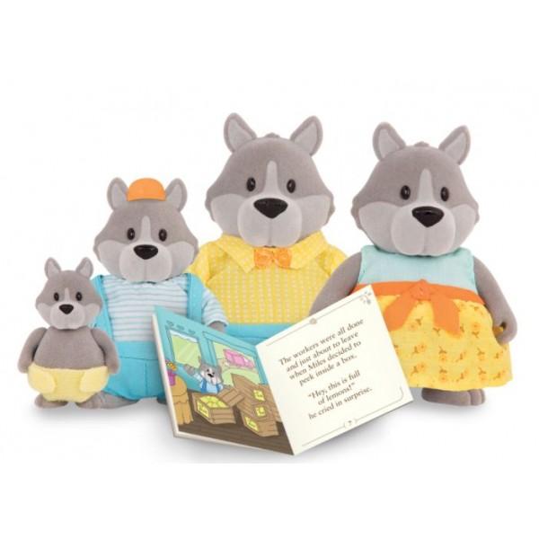 Li'L Woodzeez The GrayPaws Wolf Family with Storybook