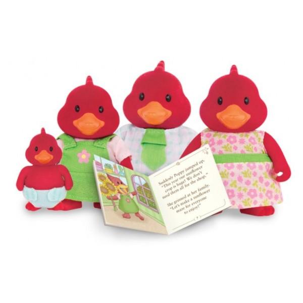 Li'L Woodzeez The Tailfeather Cardinal Family with Storybook