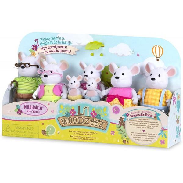 Li'l Woodzeez The Nibblekin Mouse Family Set with Grandparents
