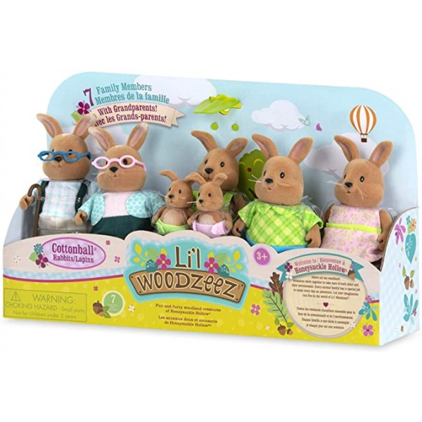 Li'l Woodzeez Rabbit Family Set with Grandparents