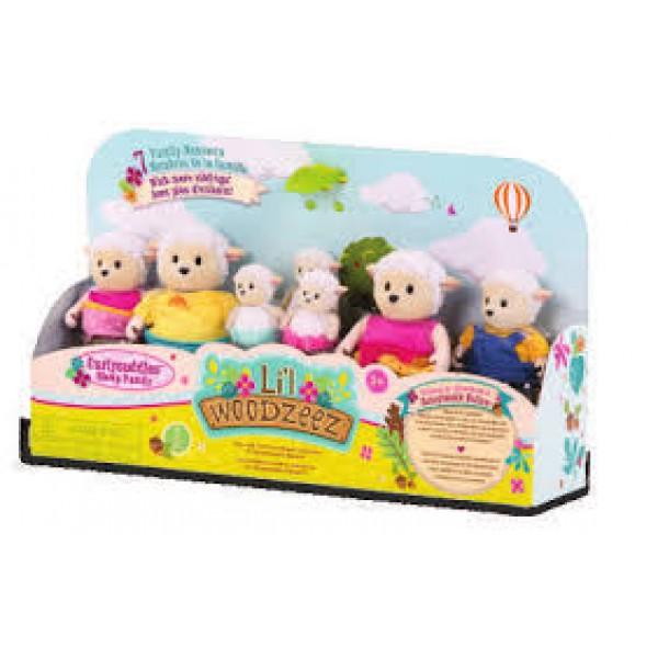 Li'l Woodzeez The Curlycuddles Sheep Family Set with Triplets