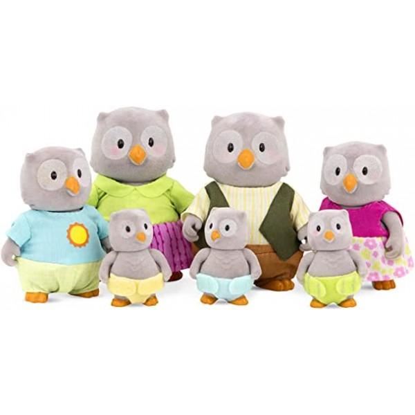 Li'l Woodzeez The McHoot Owl Family Set with Triplets