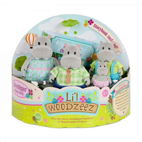 Li'l Woodzeez The Riverdipper Hippo Family with Storybook