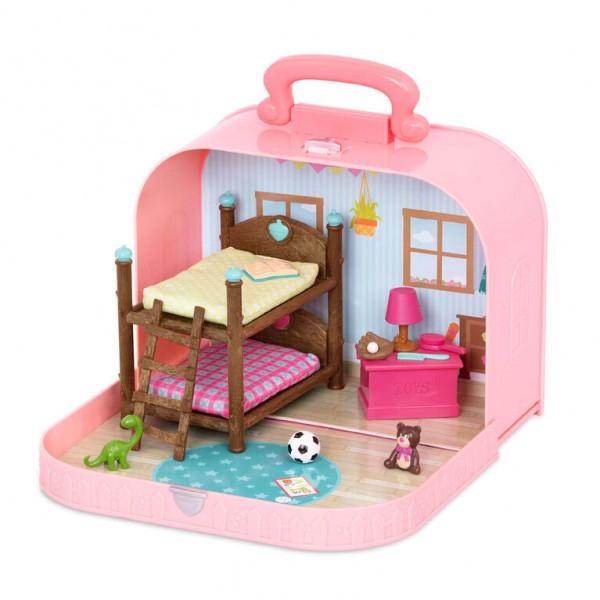 Li'l Woodzeez Travel Suitcase Bunk Beds Playset in Carry Case