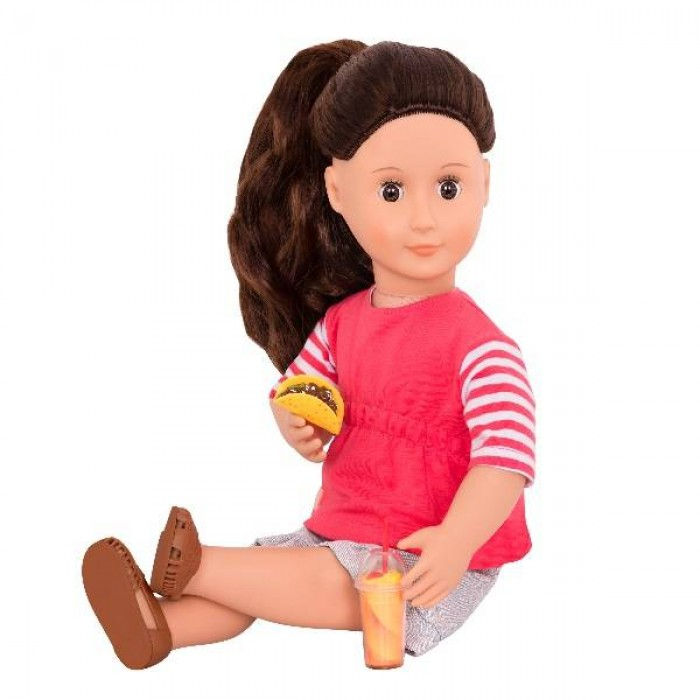 Our Generation Deluxe Food Truck Doll with Book, Skirt Version Rayna